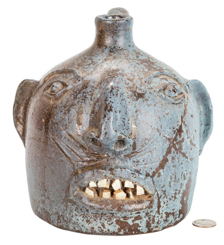 Lot 172: Southern Blue Painted Folk Pottery Face Jug