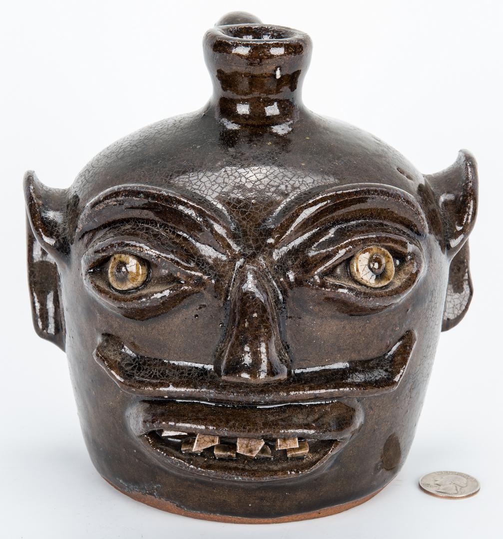 Lot 174: NC Southern Pottery Face Jug, H. F. Reinhardt