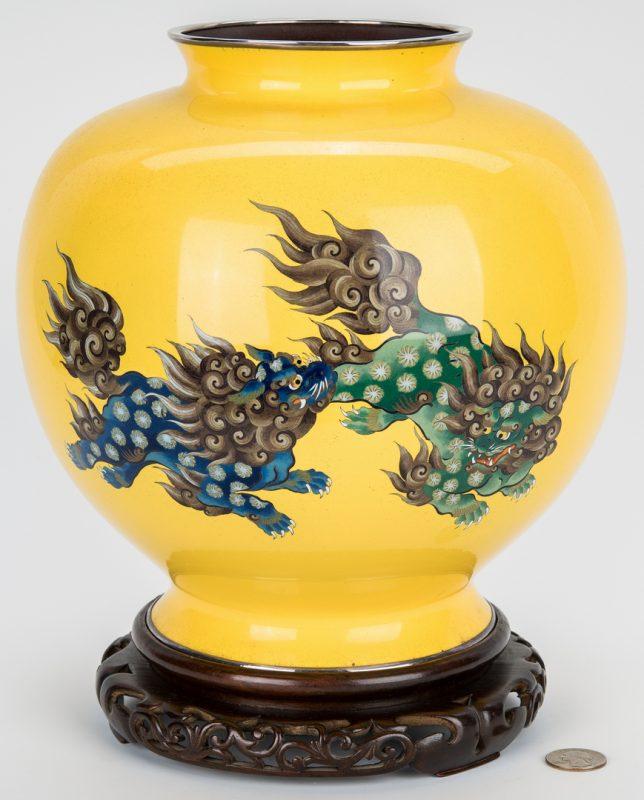 Lot 17: Asian Cloisonne Yellow Ground Vase