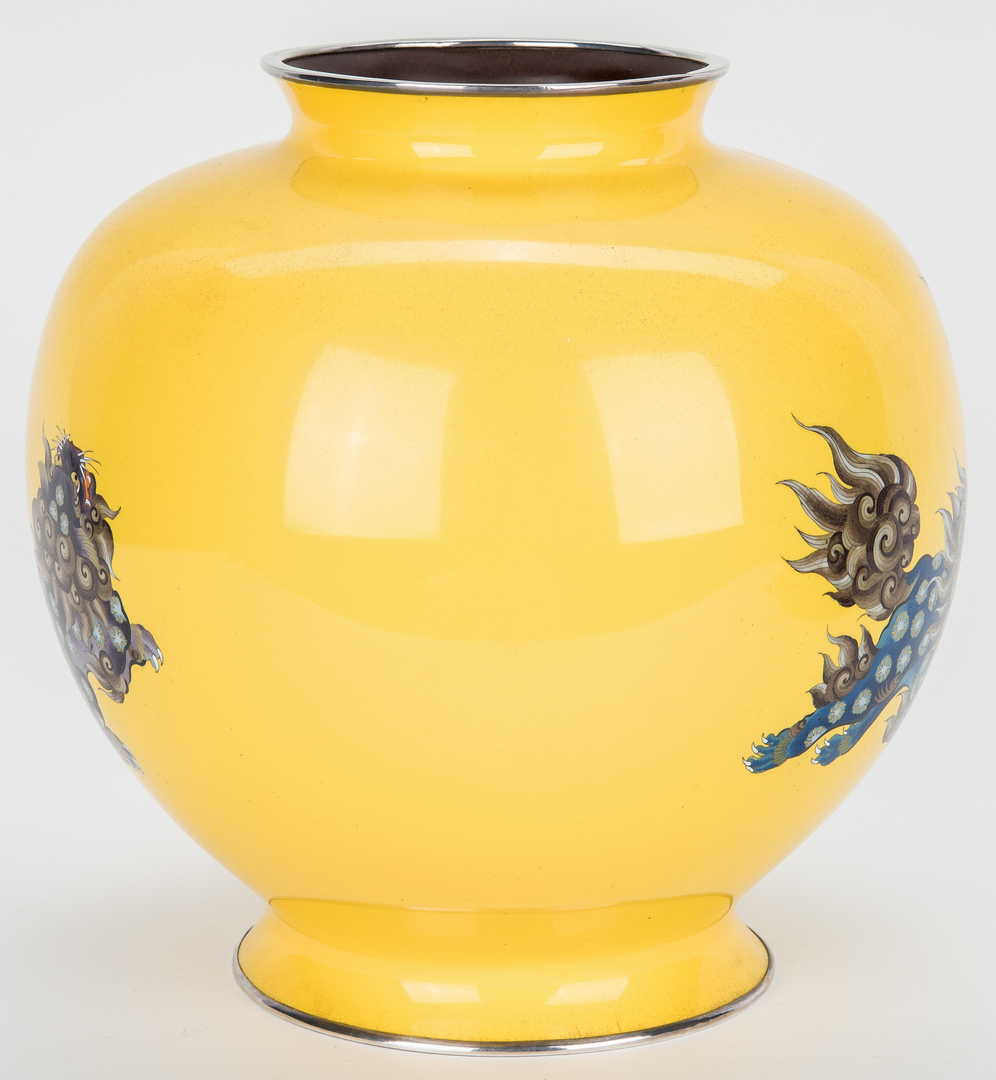 Lot 17: Asian Cloisonne Yellow Ground Vase