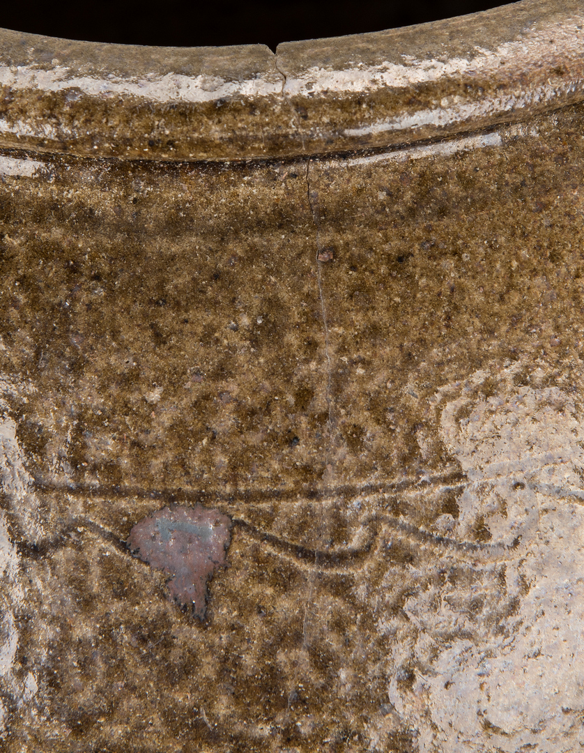 Lot 182: NC Sine Wave Decorated Five Gallon Stoneware Pottery Jar
