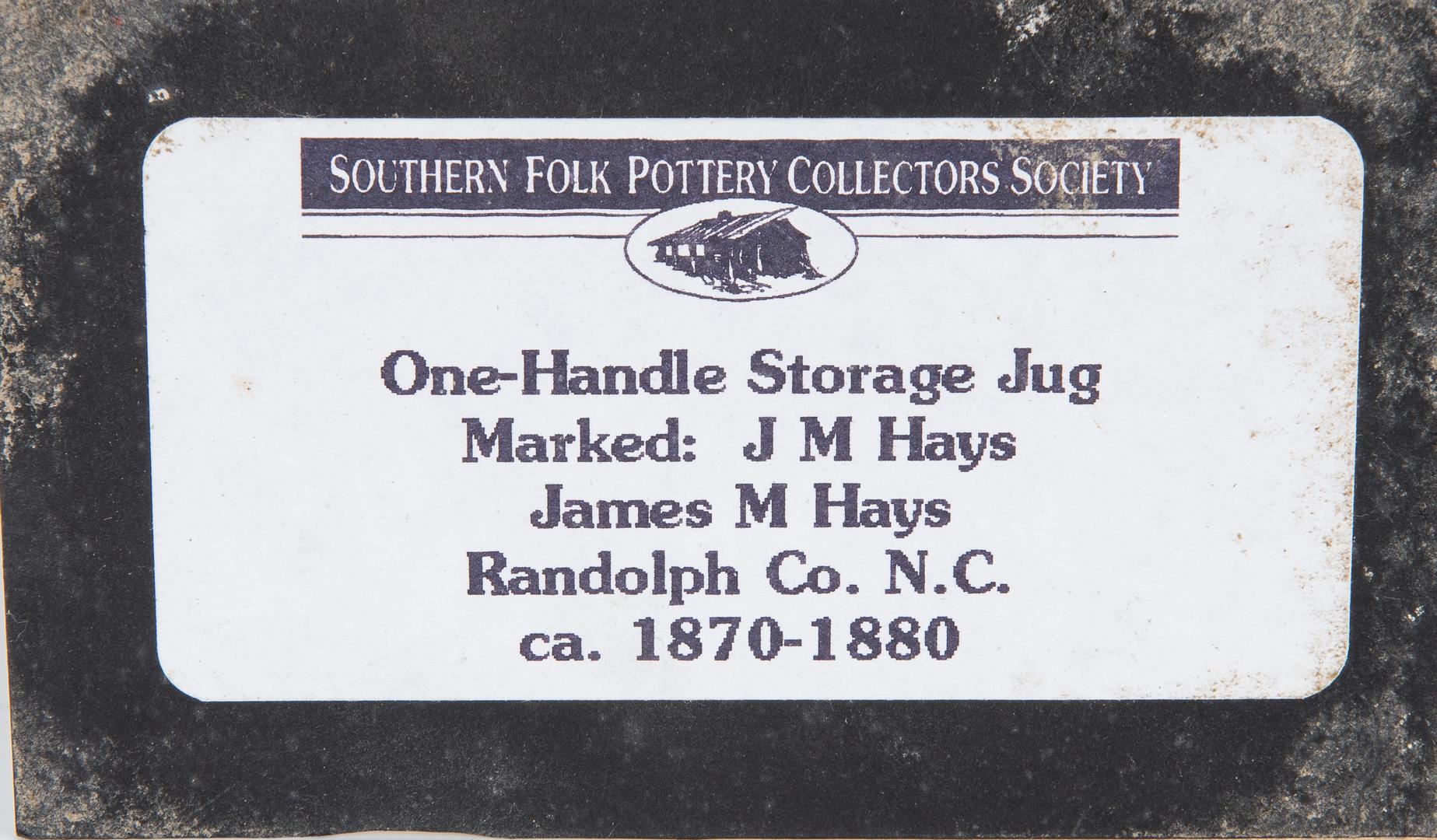 Lot 185: North Carolina Pottery Jug, J. M. Hayes