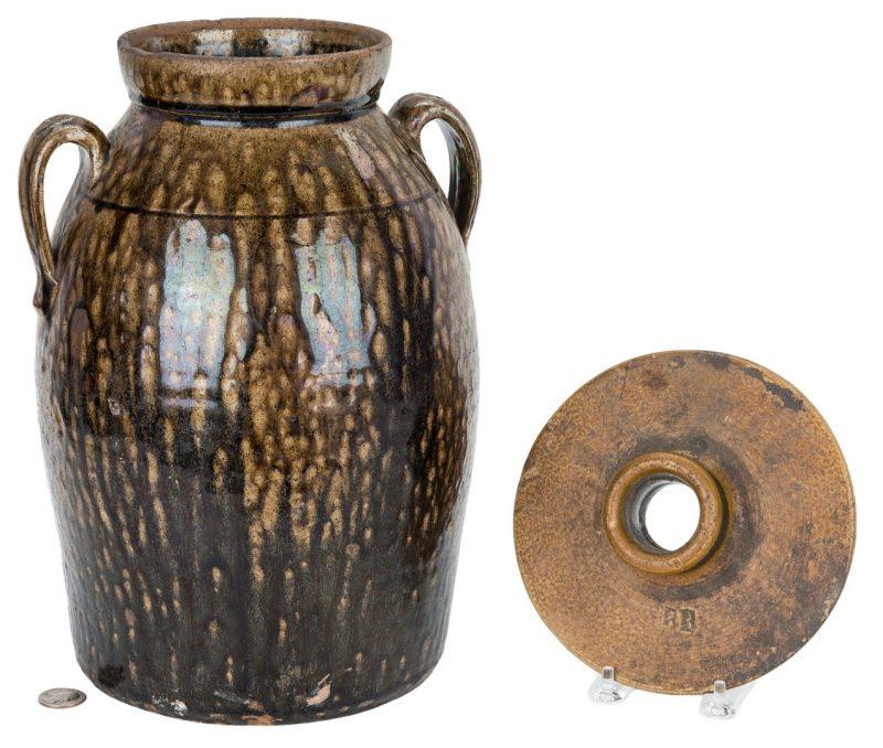 Lot 186: 2 GA Stoneware Pottery Items, Jar & Churn Lid