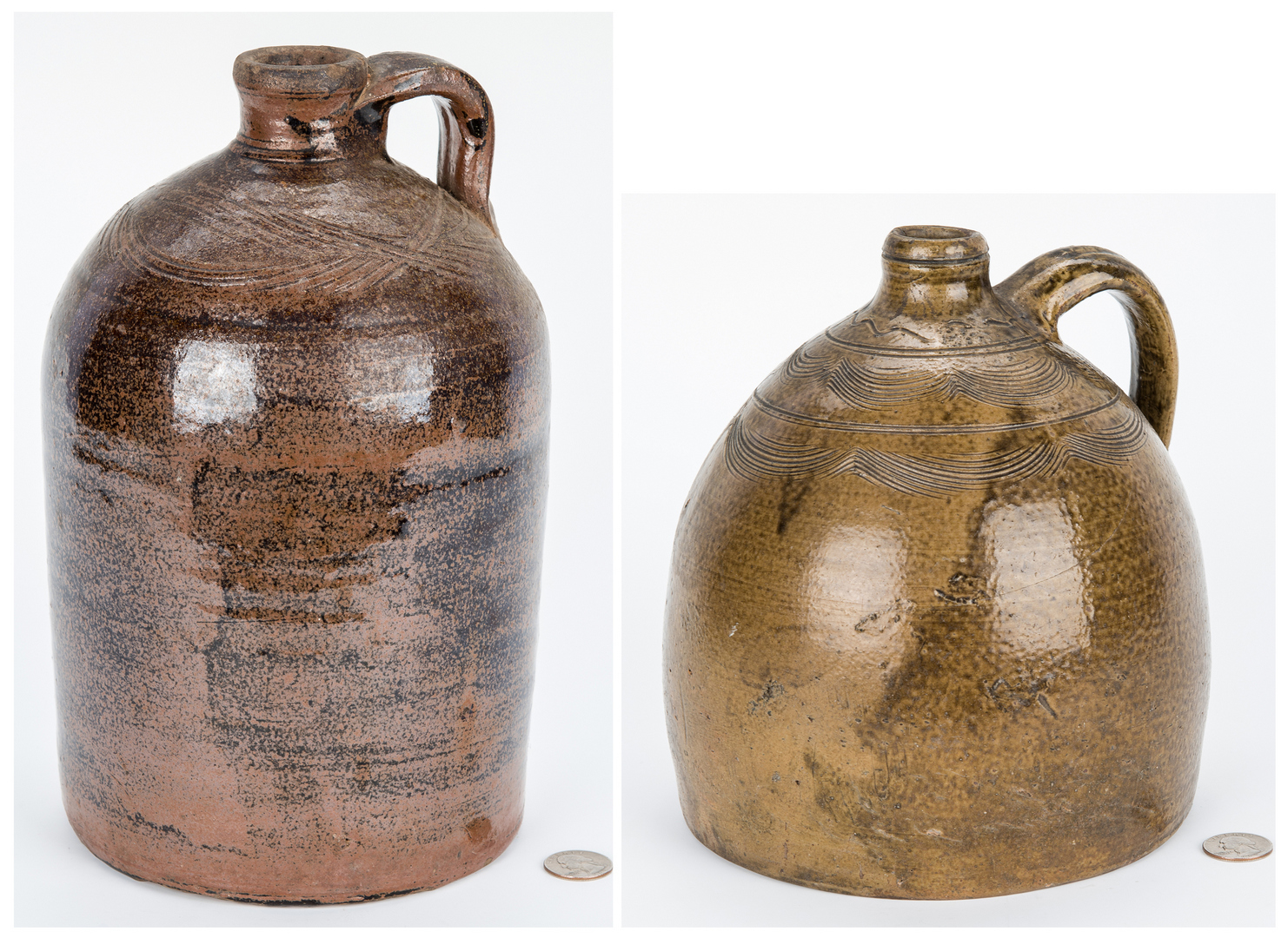 Lot 188: 2 Alabama Stoneware Pottery Jugs, incl.  Sand Mountain