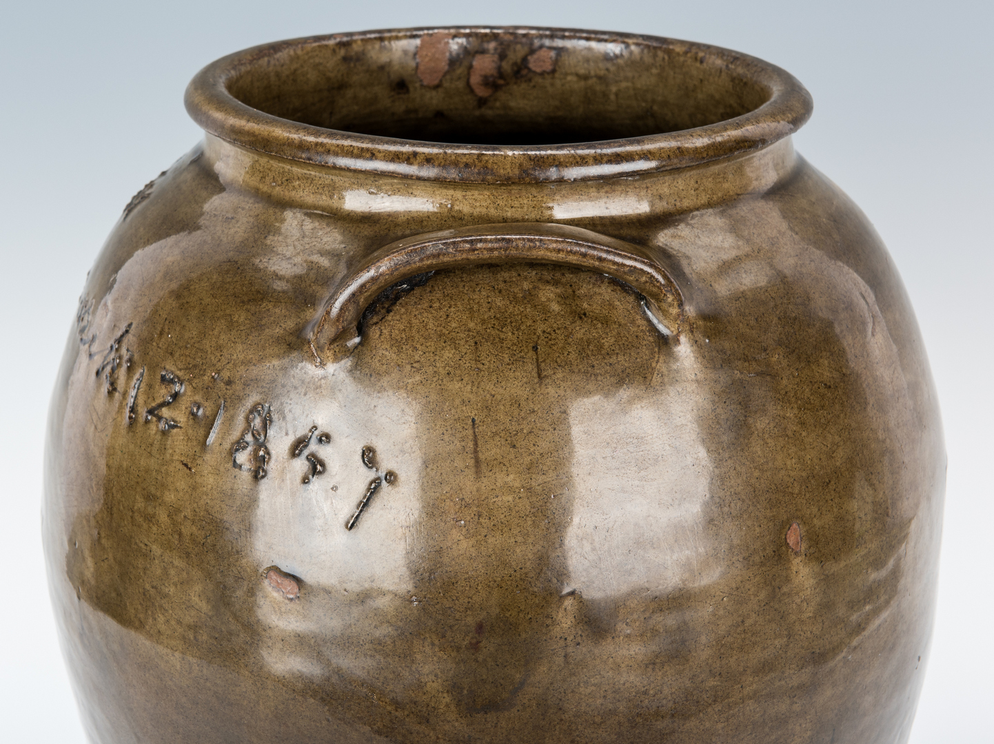 Lot 189: Lewis Miles Edgefield Pottery Jar, Signed & Dated 1857