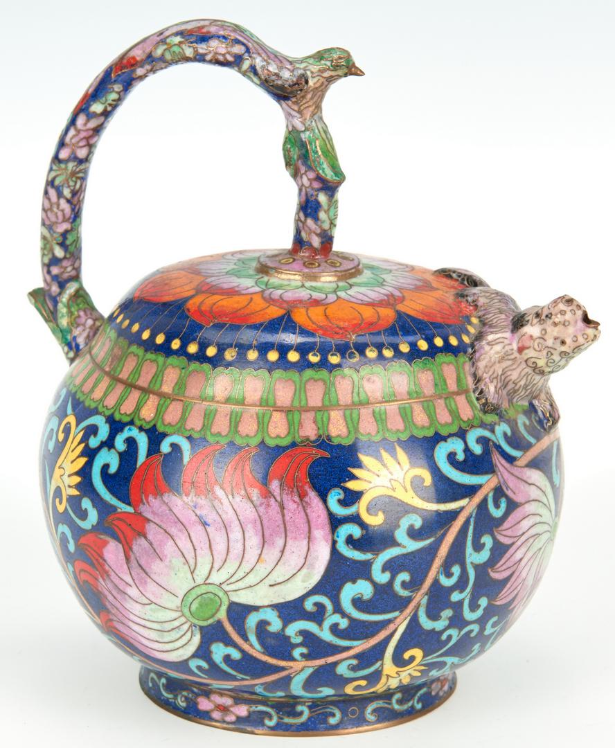 Lot 18: Asian Cloisonne Incense Burner & Teapot, 2 items