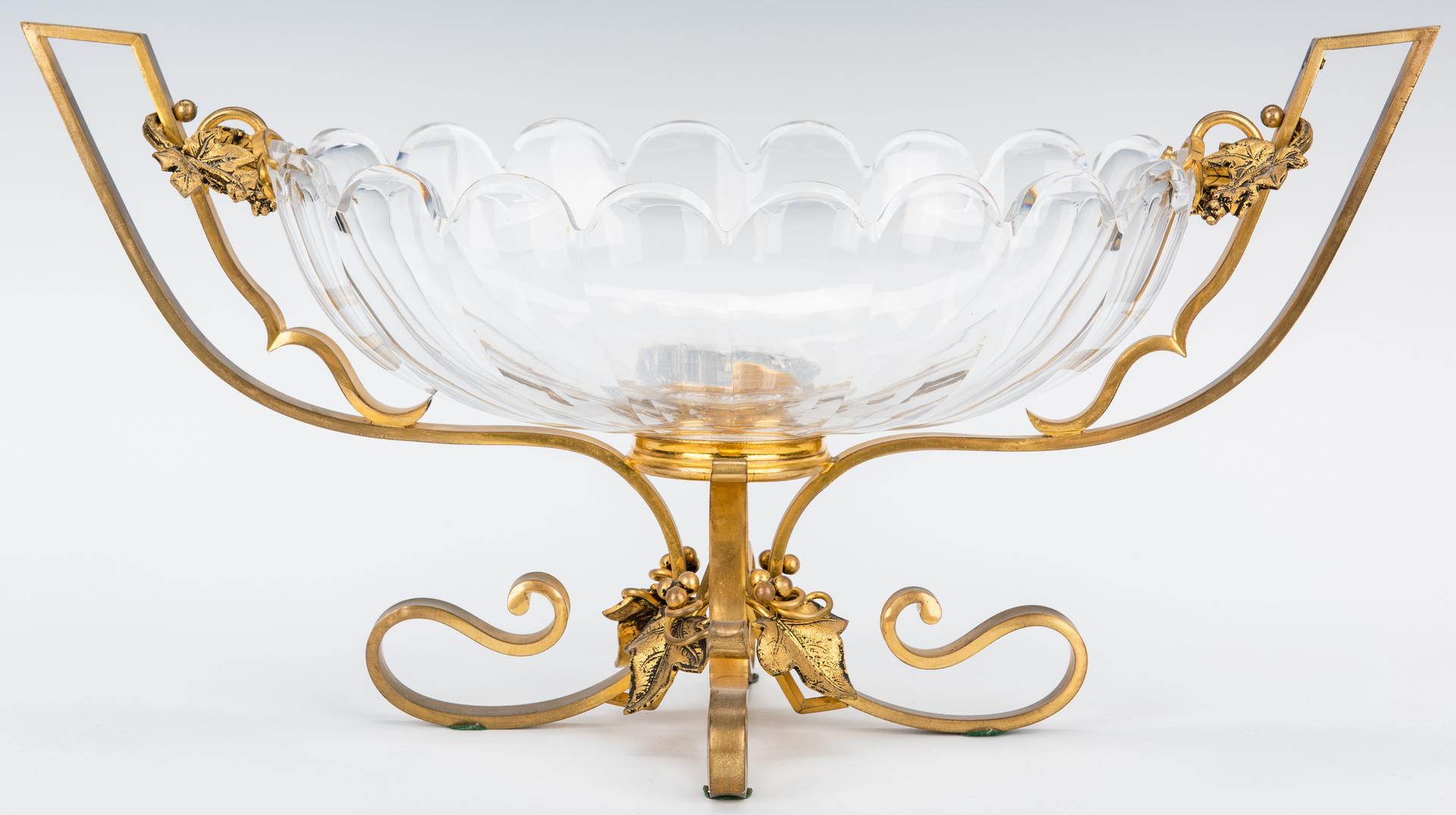 Lot 194: Pr. Gilt Bronze Candelabra & Bronze Mounted Centerpiece Bowl