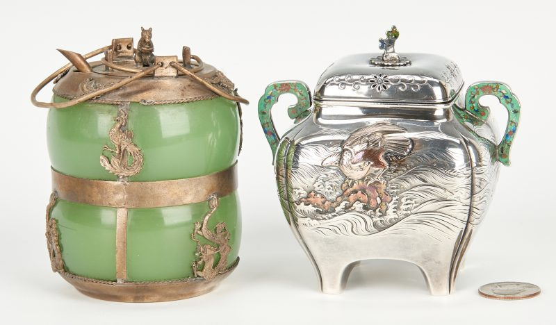 Lot 19: 2 Tea Items: Liberty Mixed Metal Caddy & Chinese Teapot
