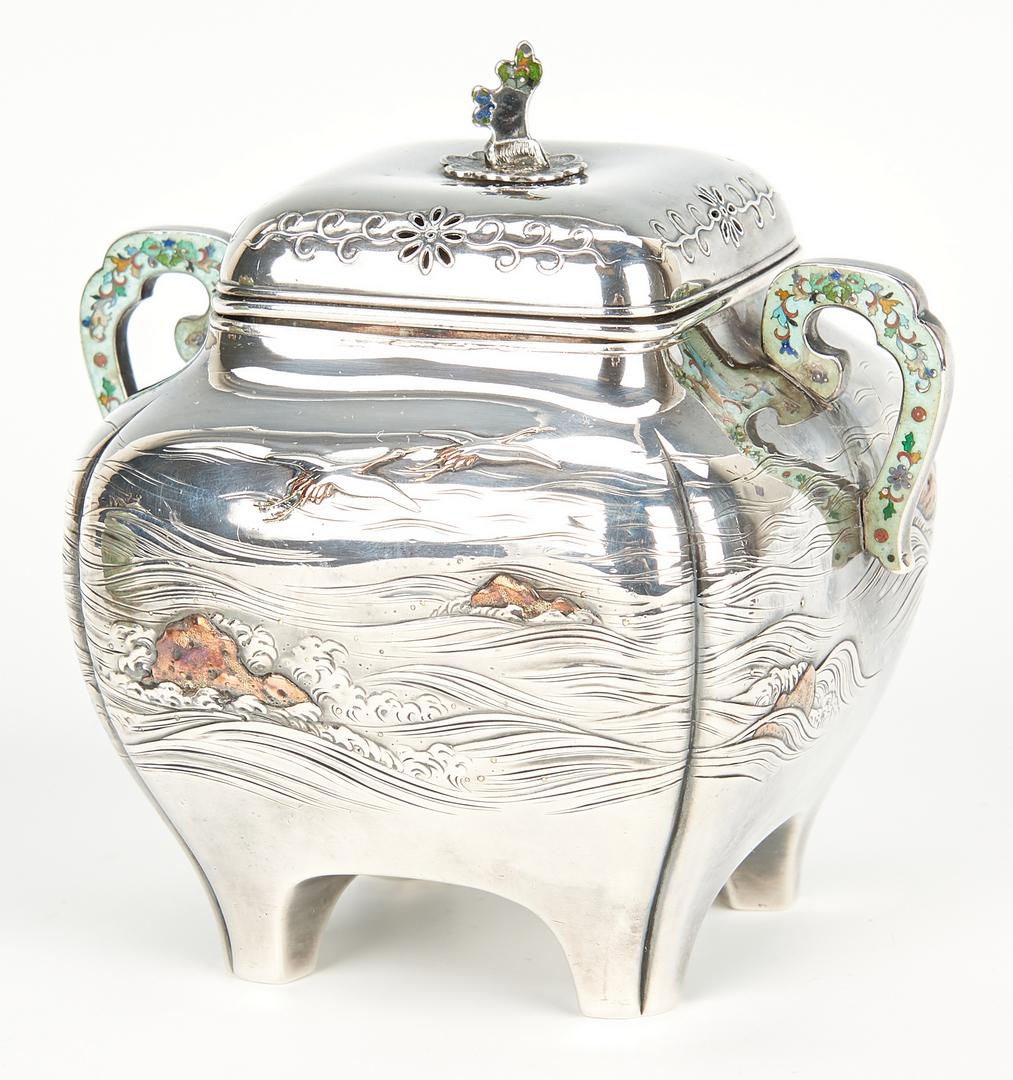 Lot 19: 2 Tea Items: Liberty Mixed Metal Caddy & Chinese Teapot