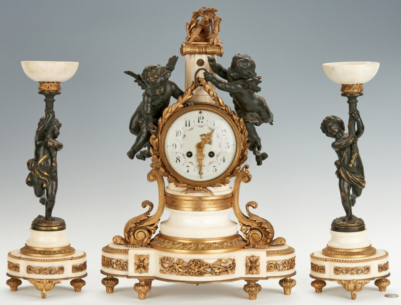 Lot 202: 3 Pc. French Neo-Classical Clock Set