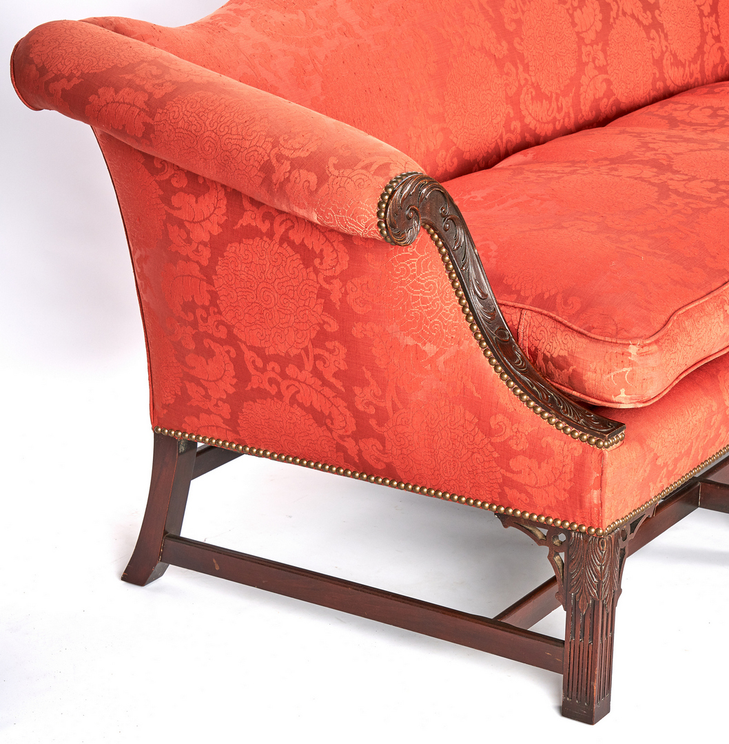 Lot 204: Chippendale Style Mahogany Camel Back Sofa