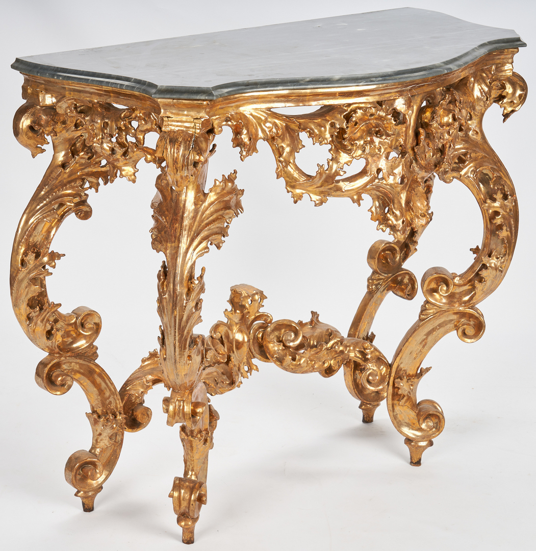 Lot 205: Rococo style giltwood console table
