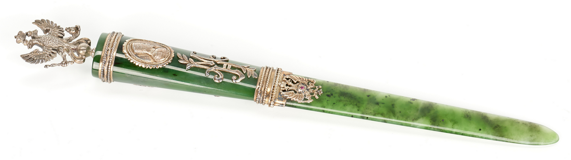 Lot 208: Russian Nephrite & Gilt Silver Paper Knife
