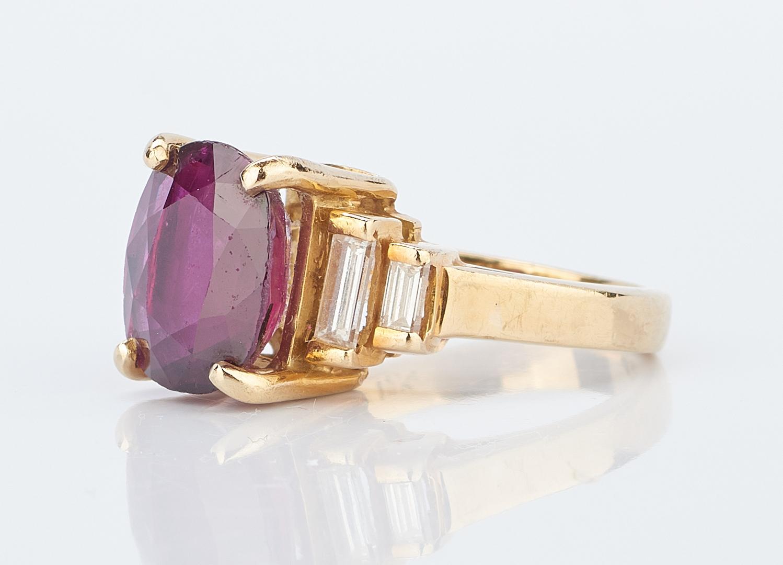 Lot 210: Ladies 4.14 Carat Ruby & Diamond Ring, 18K