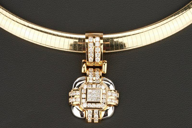 Lot 211: 14K Omega Choker Necklace w/ 18K Diamond Pendant