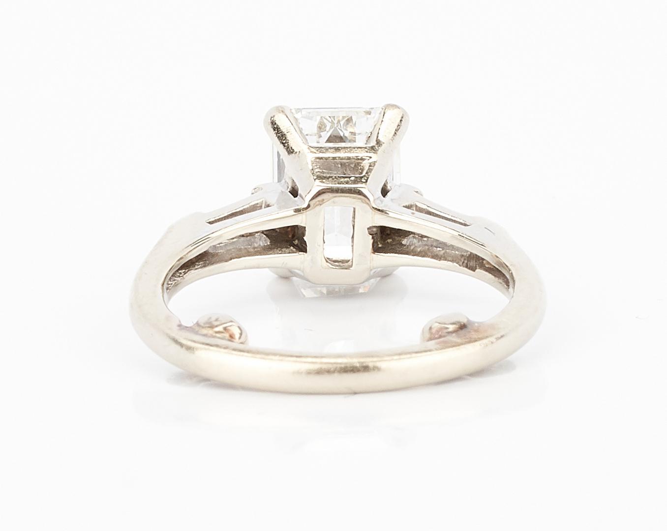 Lot 212: 14K 1 Carat Emerald Cut Diamond Engagement Ring