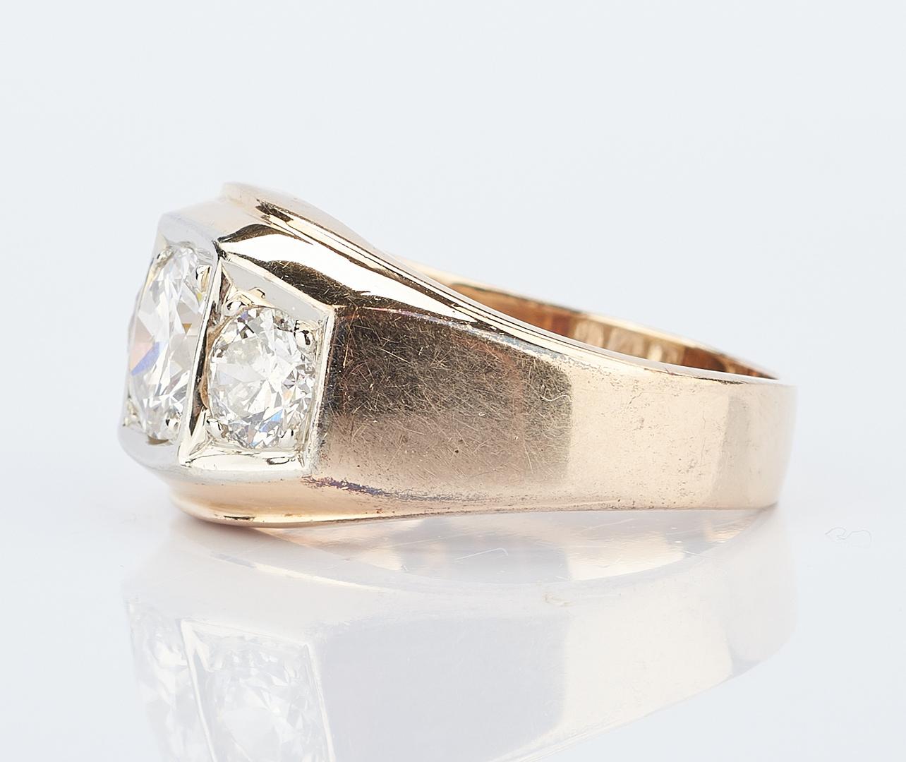 Lot 215: Men's 14K and 3 Stone Diamond Ring, 2.25 Carats