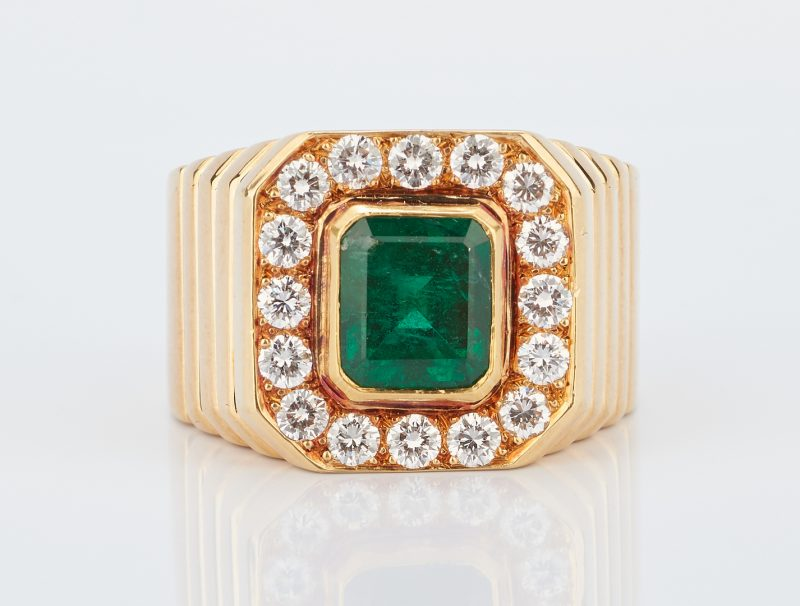 Lot 216: 2.5 Carat Emerald and Diamond Men's Ring