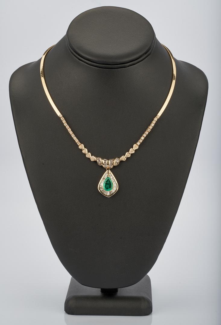 Lot 219: 14K 3.5 Carat Emerald and Diamond Necklace