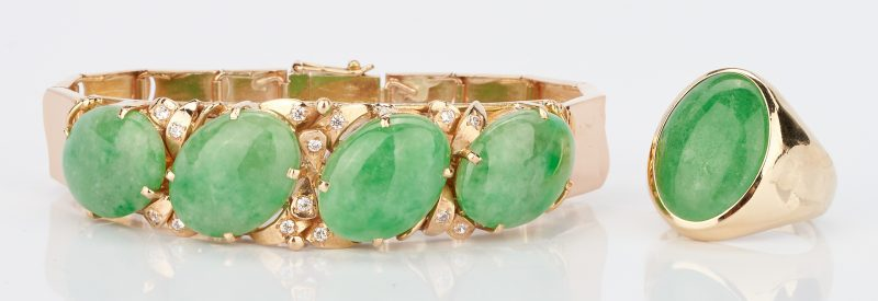 Lot 21: 14K Jade Bracelet and 14K Jade Ring