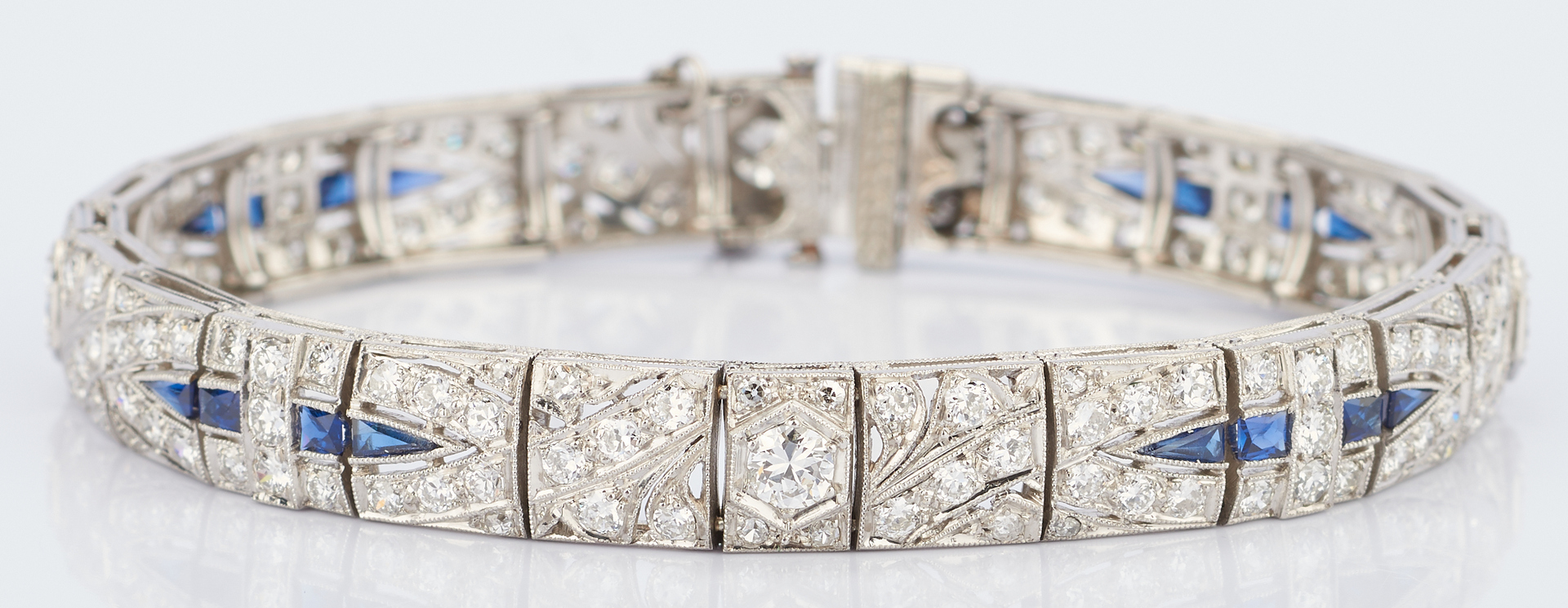 Lot 223: Art Deco Platinum Diamond Sapphire Bracelet