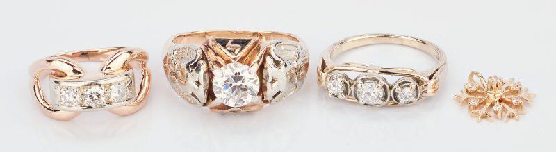 Lot 225: 3 14K & Diamond Rings and 1 14K Diamond Pendant, 4 items