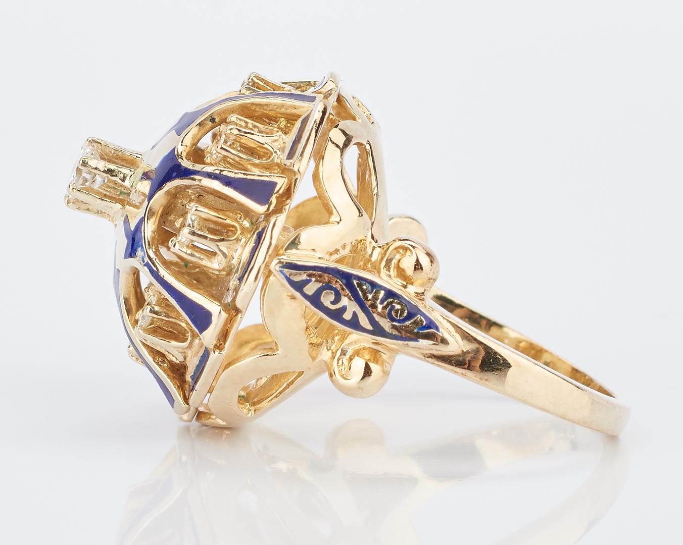 Lot 227: 3 Ladies 14K & Diamond Rings, incl. Ballerina