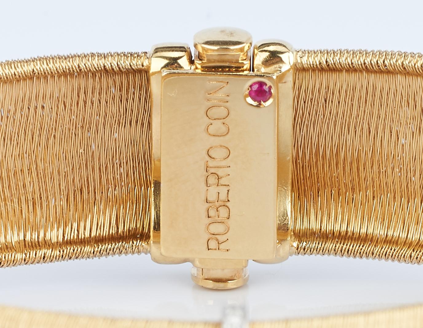 Lot 228: 18K Roberto Coin Mesh & Diamond Bracelet