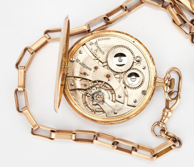 Lot 229: 14K Waltham Riverside A pocket watch