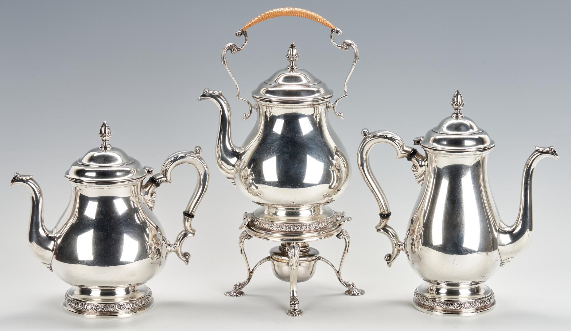 Lot 236: International Prelude Sterling Silver Tea Service, S. Kirk Snuffer