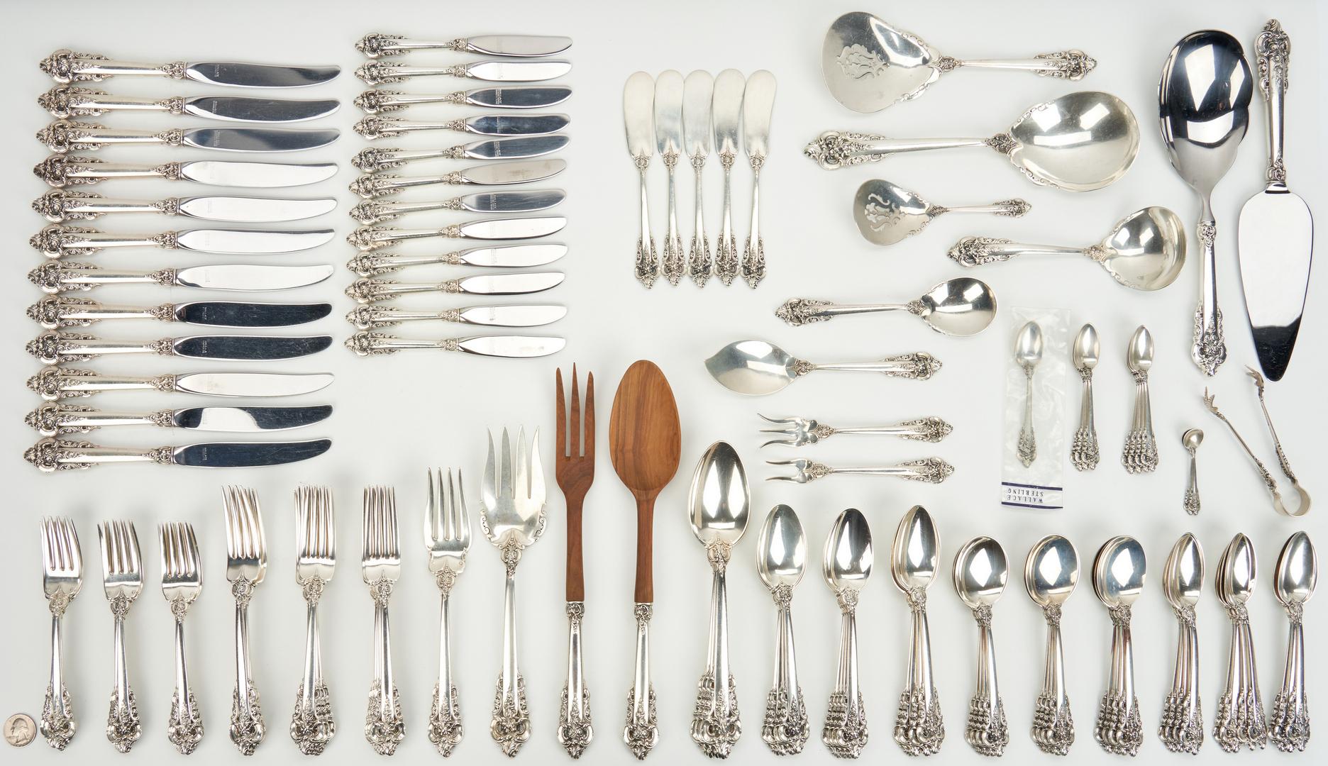 Lot 237: 117 pcs. Wallace Grand Baroque Sterling Silver Flatware