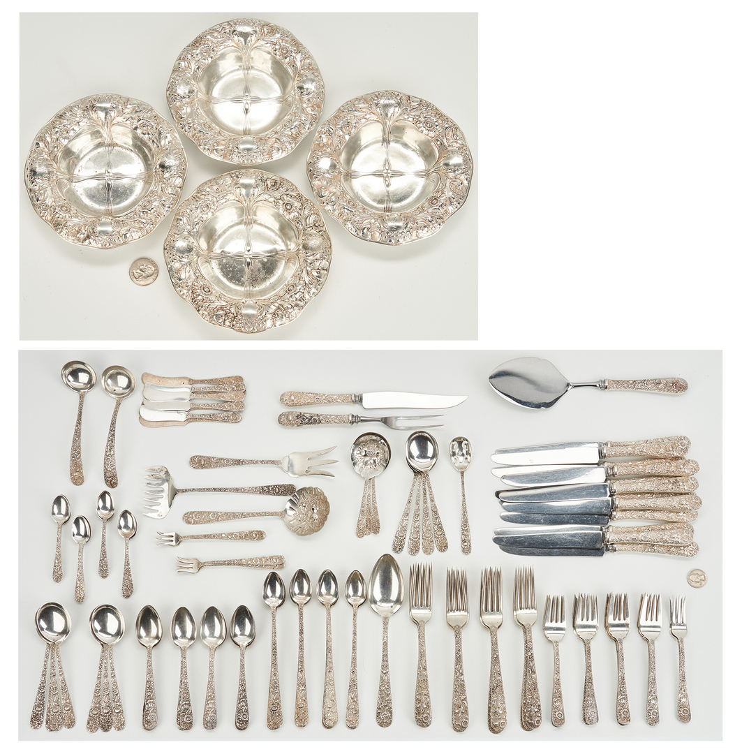 Lot 238: 114 Pcs. S. Kirk & Sons Repousse Flatware & 4 Gorham Nut Dishes