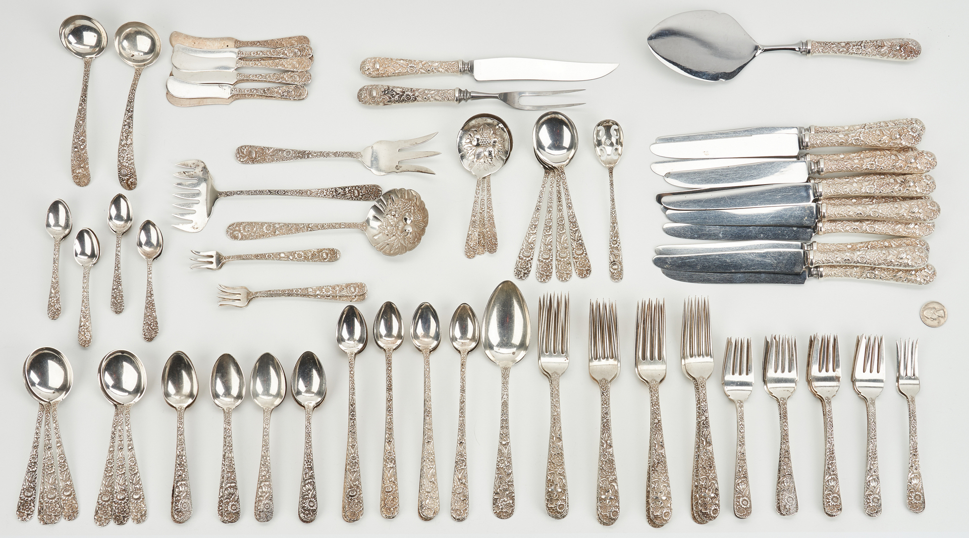 Lot 238: 114 Pcs. S. Kirk & Sons Repousse Flatware & 4 Gorham Nut Dishes