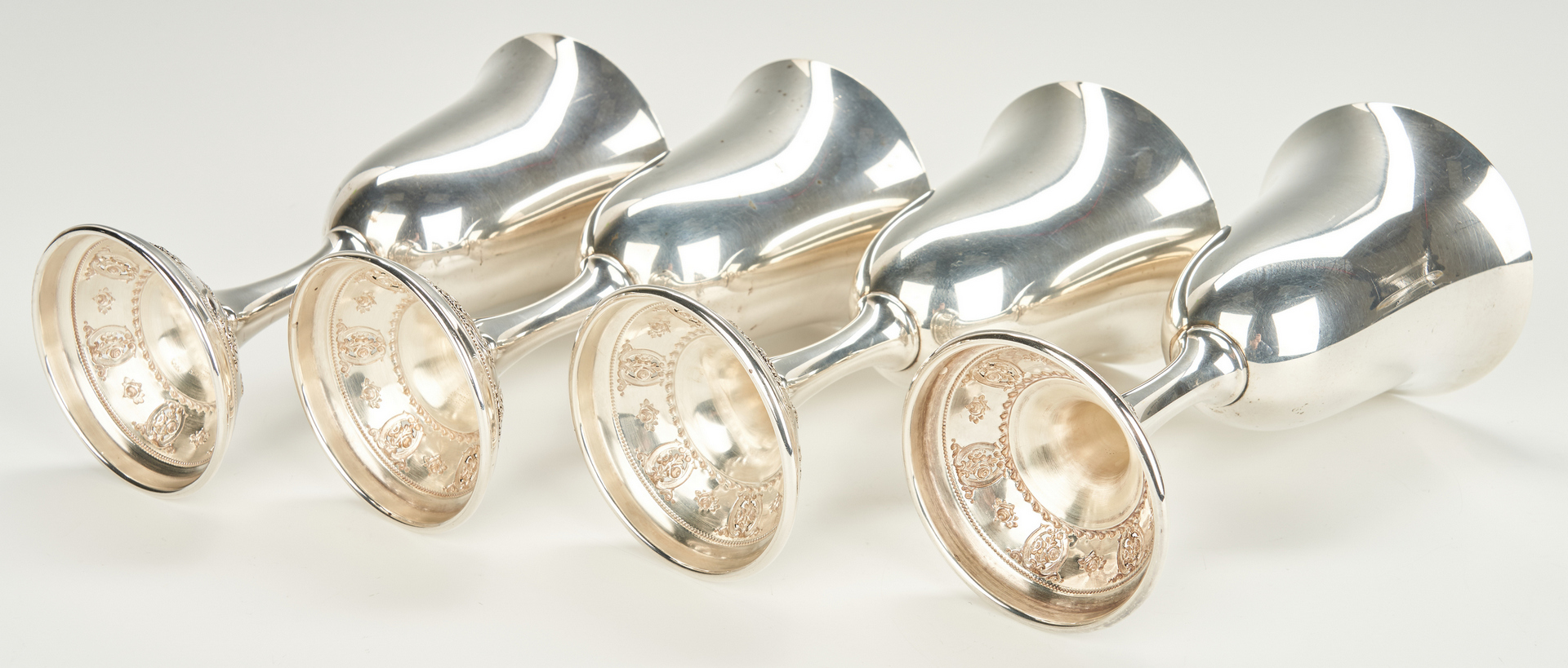 Lot 242: 12 Wallace Rose Point Sterling Silver Water Goblets