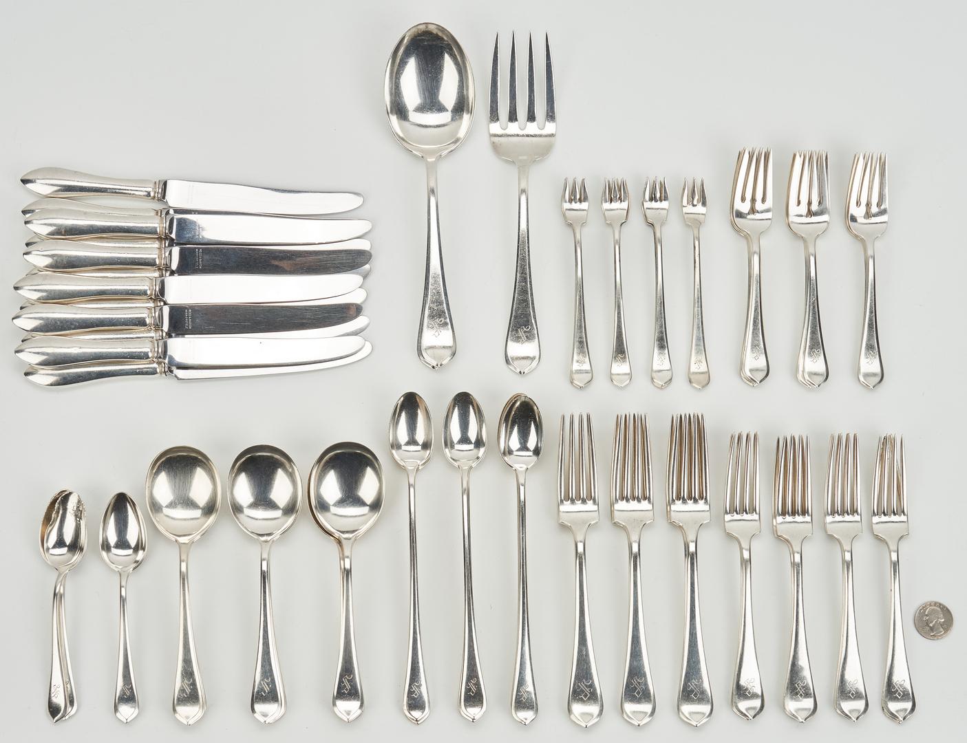 Lot 244: 87 Pcs. Gorham Old London-Plain Sterling Silver Flatware