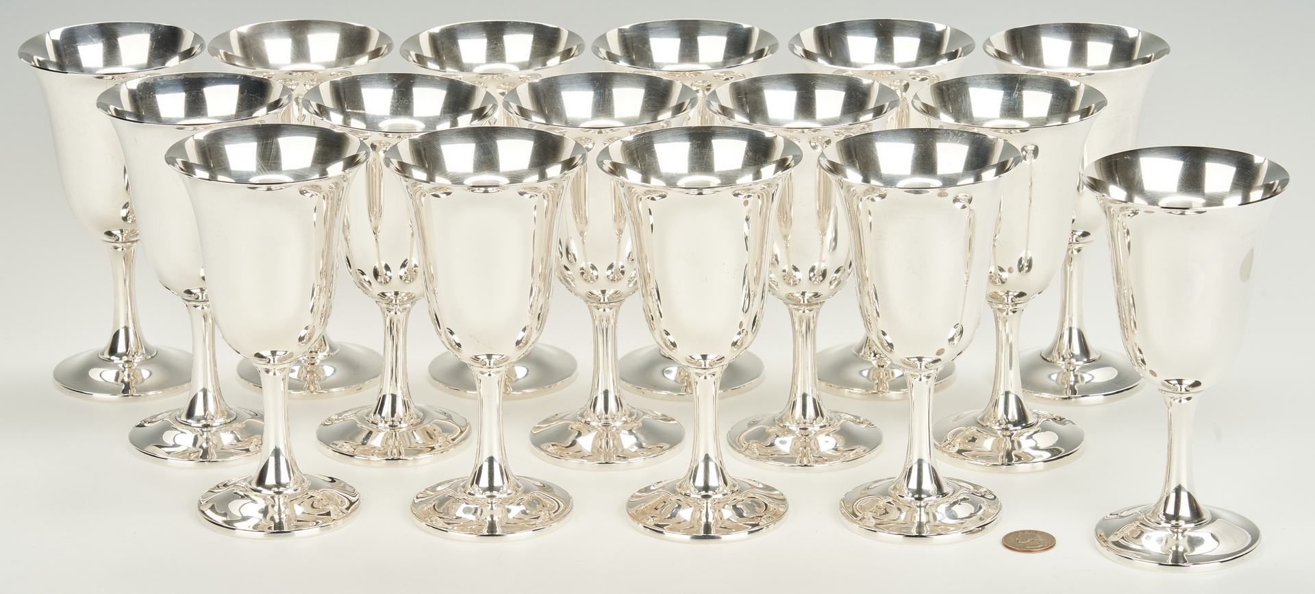 Lot 245: 16 Wallace Sterling Silver Goblets