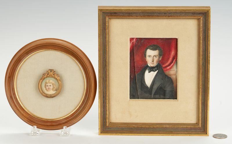 Lot 248: 2 Portrait Miniatures incl. child