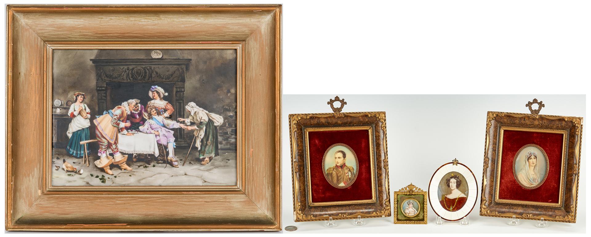 Lot 249: European Porcelain Plaque & 4 Portrait Miniature