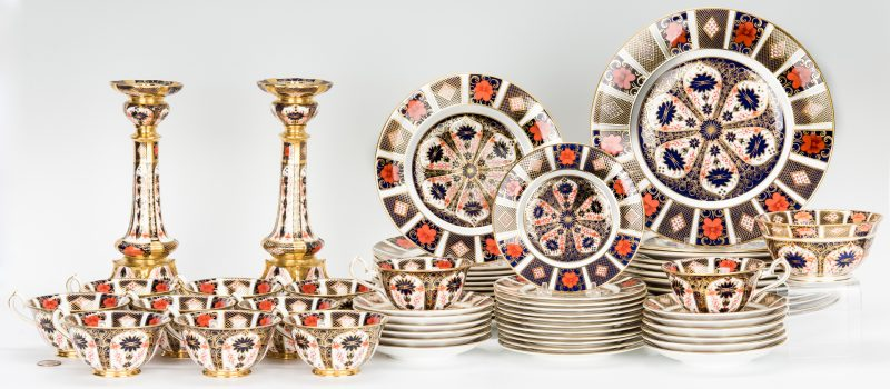 Lot 250: 63 Pcs. Royal Crown Derby Imari Porcelain, Cigar Pattern