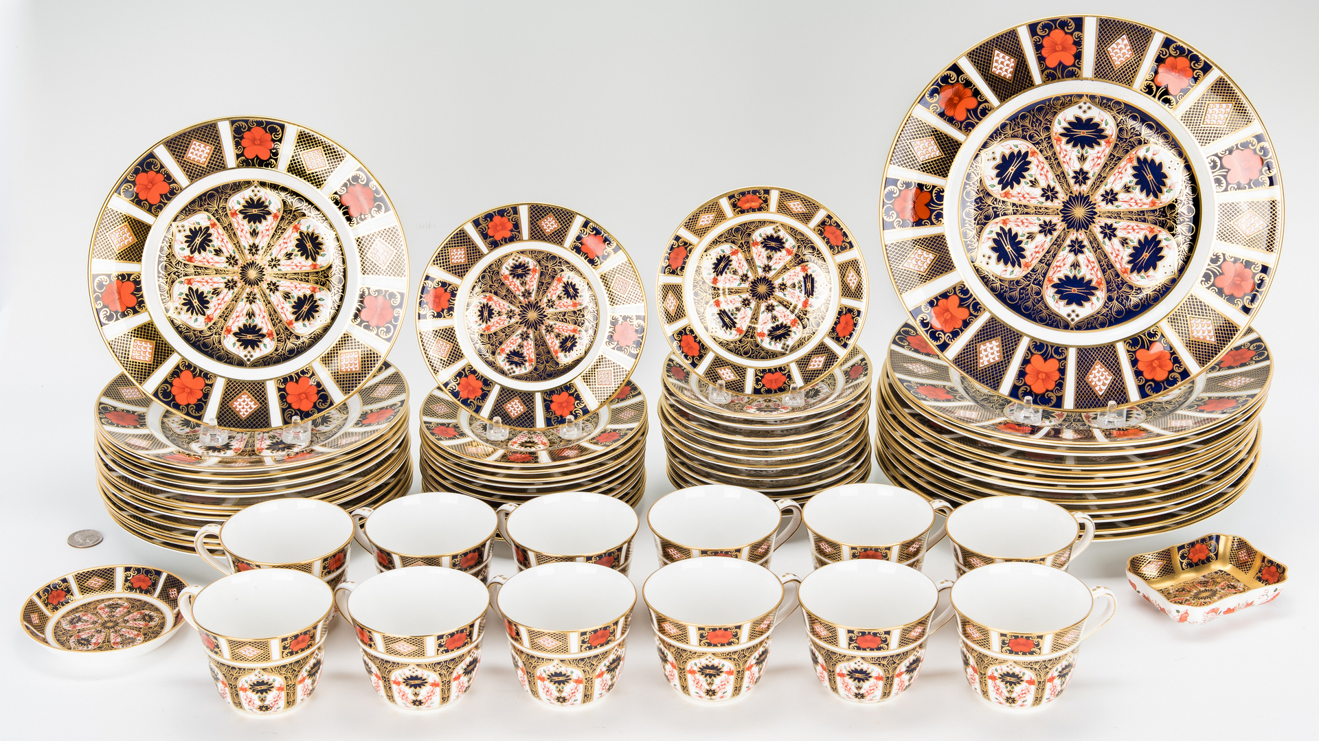 Lot 251: 62 Pcs. Royal Crown Derby Old Imari Dinnerware