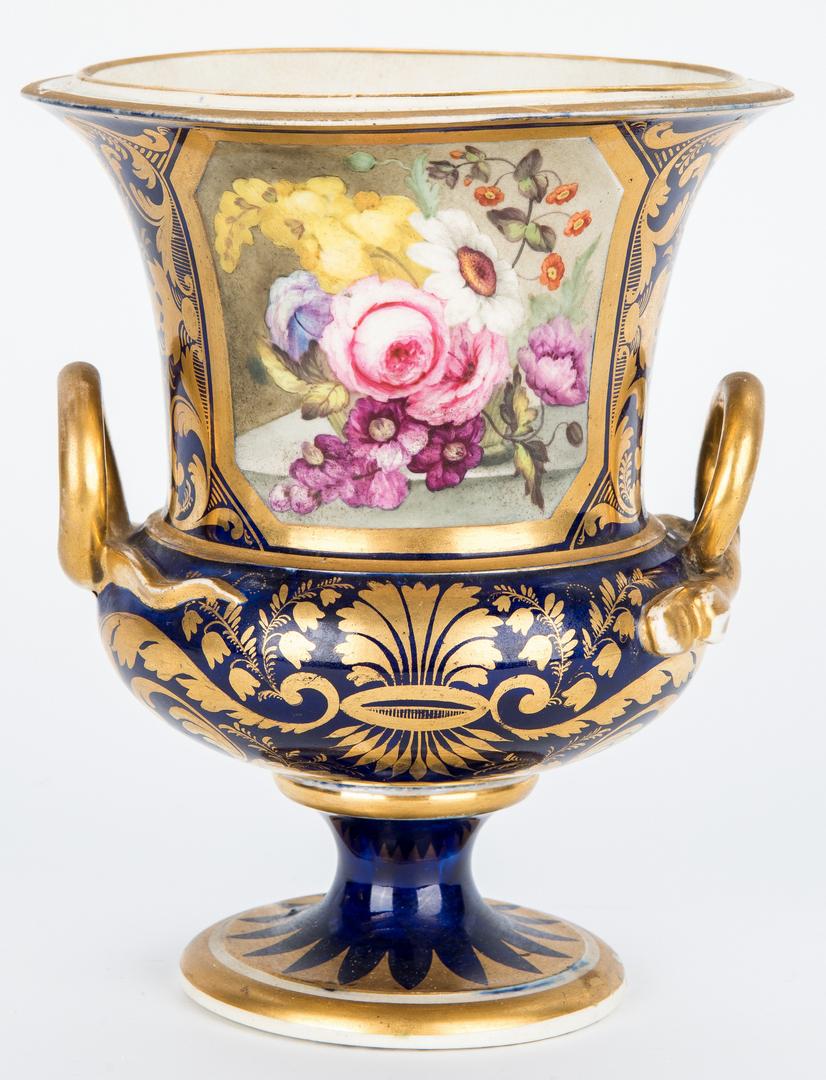 Lot 252: 3 Derby Porcelain Urns w/ Cobalt Decoration