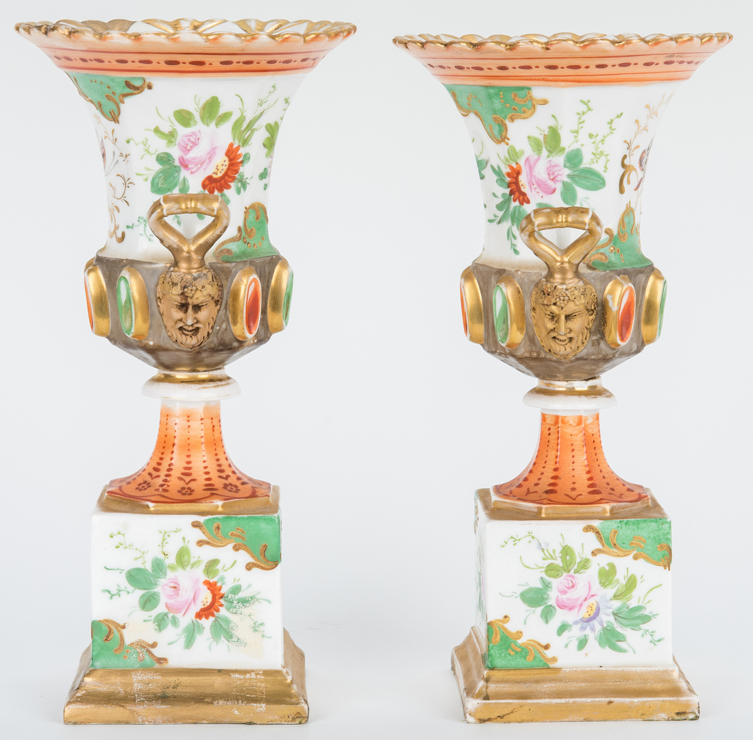 Lot 253: Pr. French Porcelain Urns w/ Mask Handles & English Ironstone Plates, 6 items