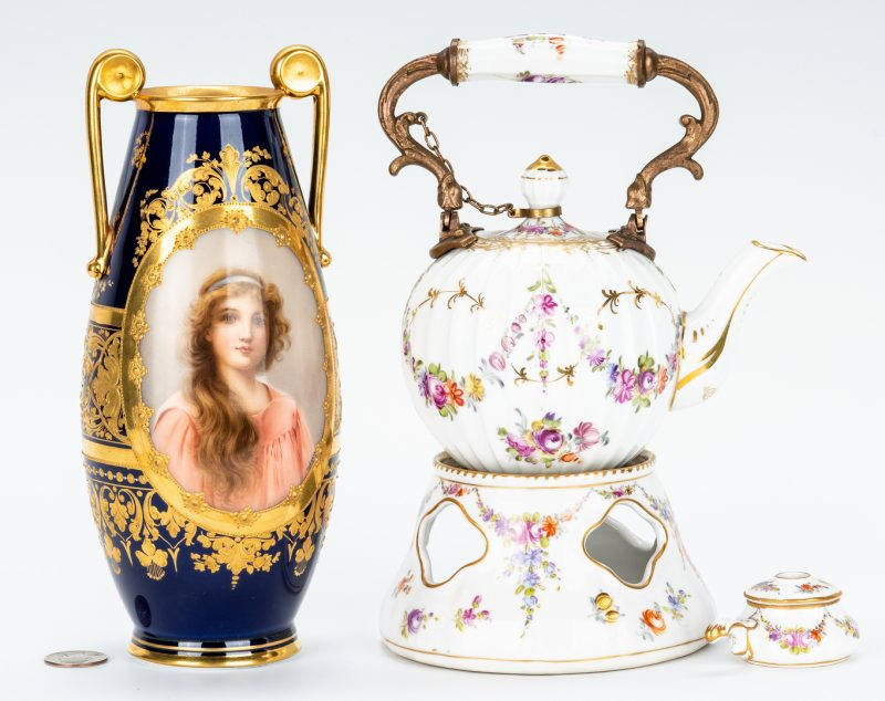Lot 254: Royal Vienna Wagner Signed Vase and KPM Tea Pot