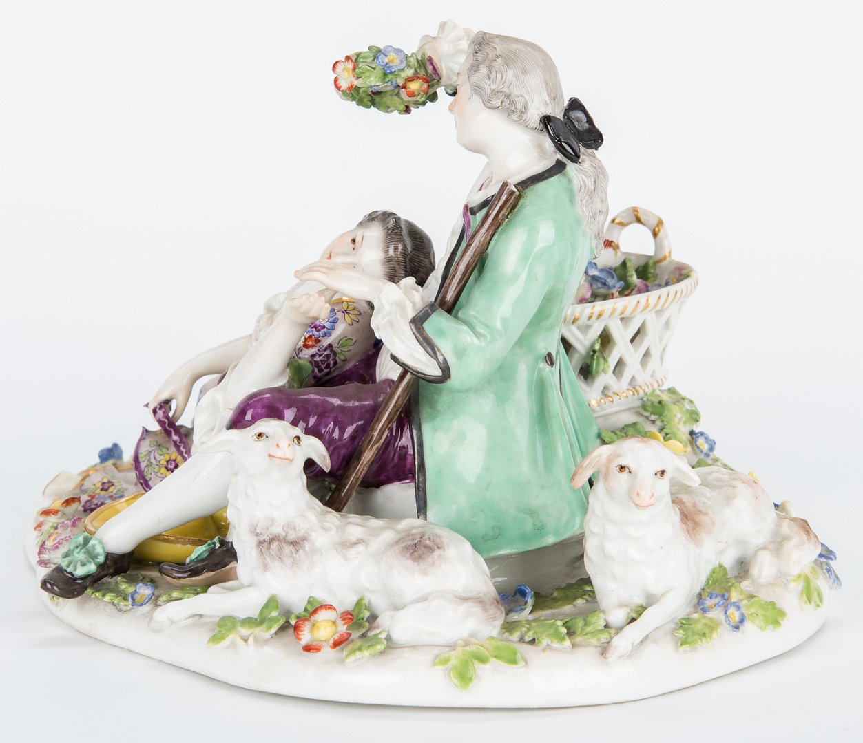 Lot 258: Meissen Courting Couple w/ Sheep Figural