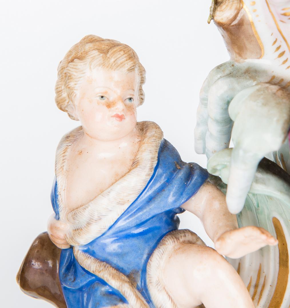 Lot 259: Pair of Meissen Parcel Gilt Figural Candlesticks