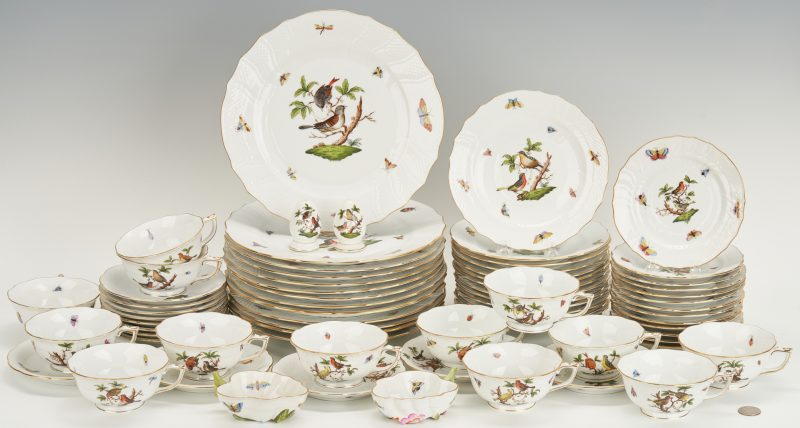 Lot 263: Herend Rothschild Bird China Service, 69 pcs
