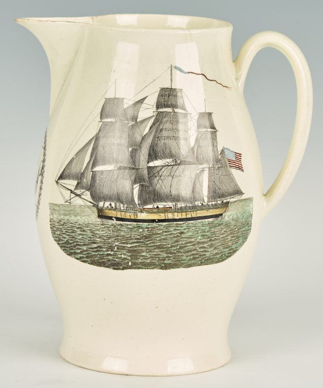 Lot 267: Liverpool Creamware Jug w/ American Ship & Flag