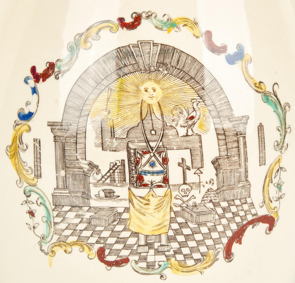 Lot 268: Liverpool Creamware Jug w/ Masonic Imagery