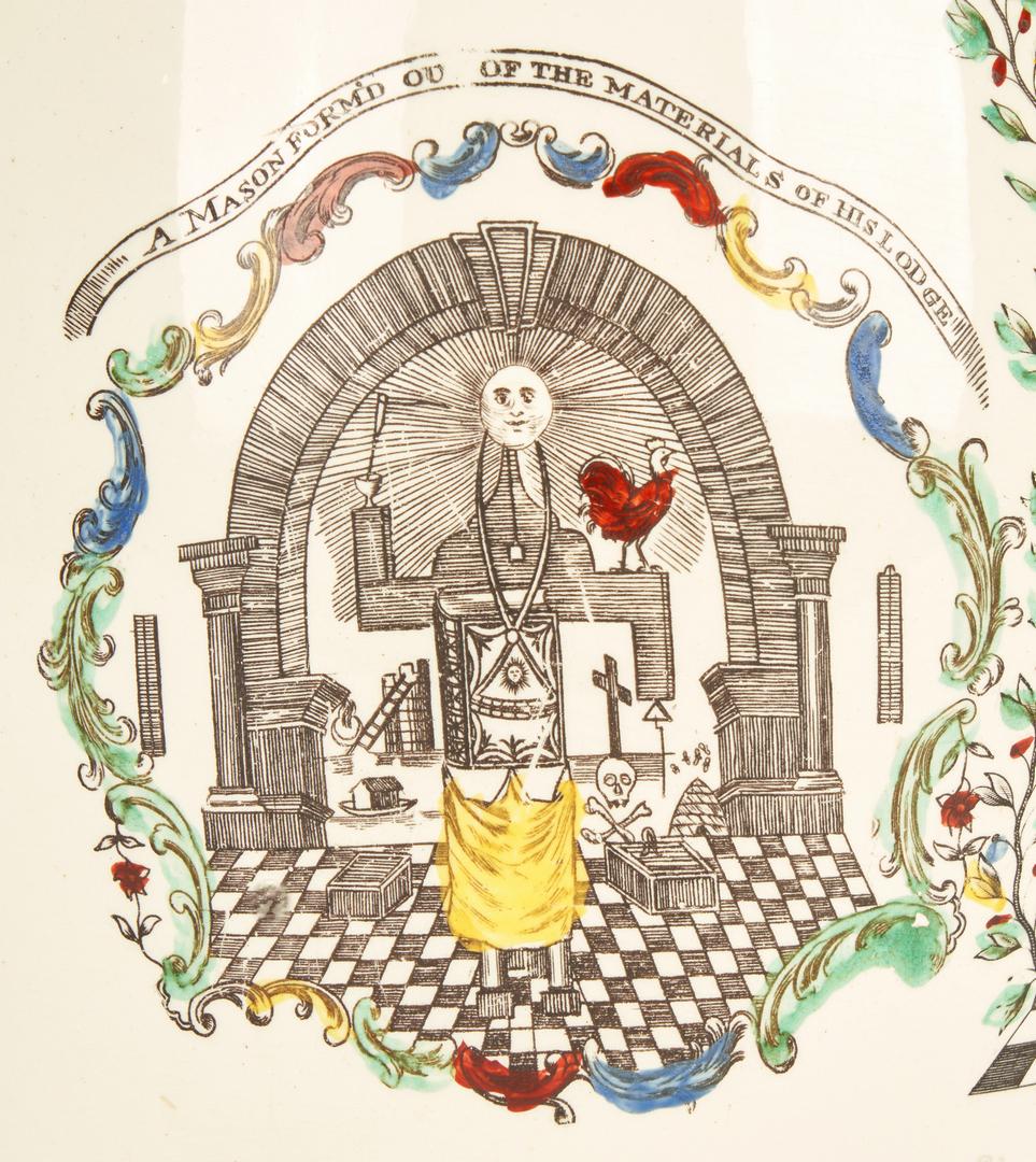 Lot 269: Liverpool Creamware Jug w/ 3 Masonic Scenes