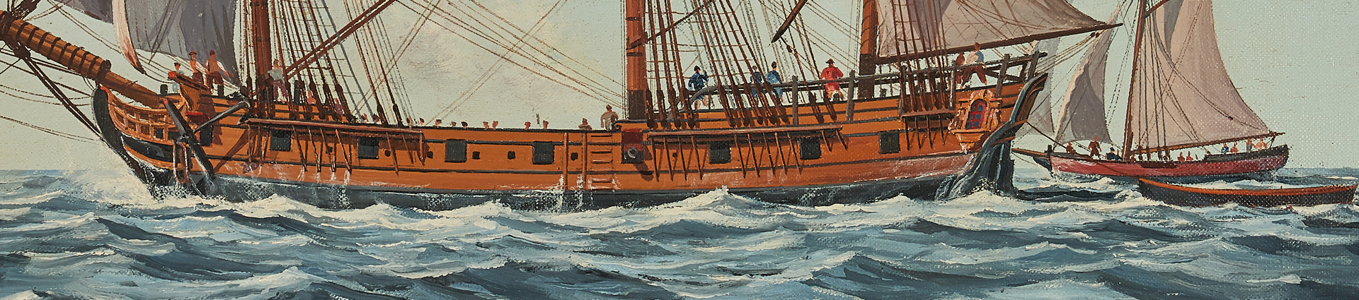 Lot 270: Nowland Van Powell Nautical Oil, H.M.S. Falcon